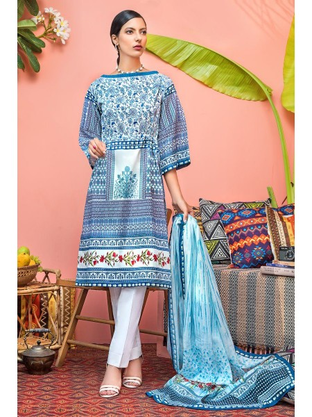 Gul Ahmed Mid Summer Collection 2 PC Unstitched Suit with cotton Net Dupatta CNT-01
