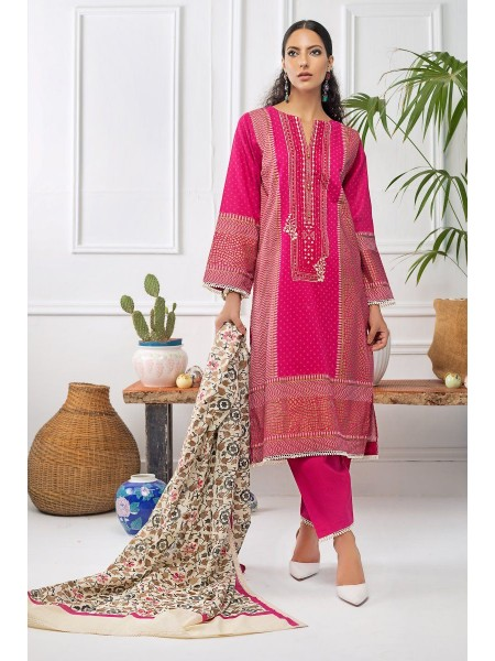 Gul Ahmed Mid Summer Collection 3 PC Unstitched Embroidered Cambric Suit CBE-121
