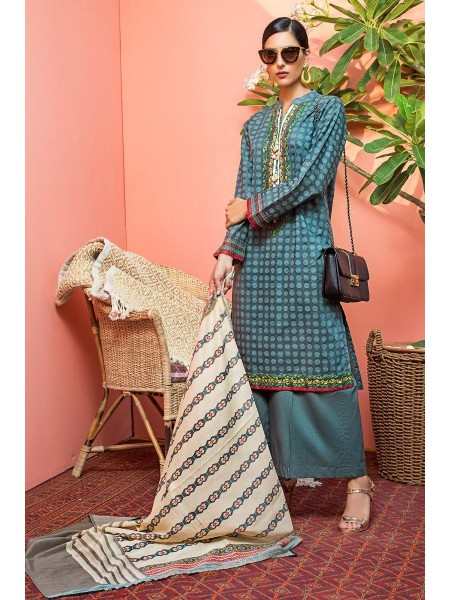 Gul Ahmed Mid Summer Collection 3 PC Unstitched Embroidered Cambric Suit CBE-122