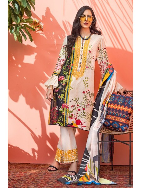 Gul Ahmed Mid Summer Collection 3 PC Unstitched Embroidered Suit with Cotton Net Dupatta CN-18
