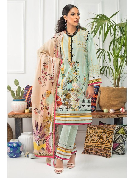 Gul Ahmed Mid Summer Collection 3 PC Unstitched Embroidered Suit with Cotton Net Dupatta CN-19