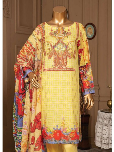 JAVED Gold Lawn Unstitched Printed And Embroidered Collection D-04