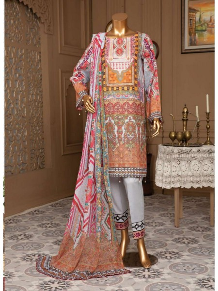 JAVED Gold Lawn Unstitched Printed And Embroidered Collection D-10