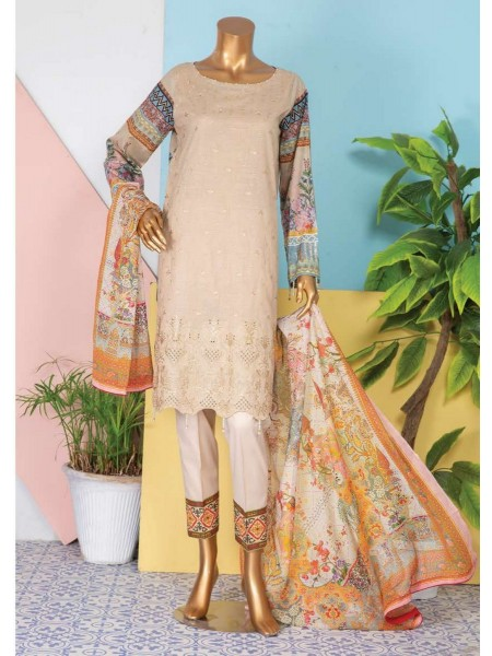 JAVED Shanza Unstitched Printed And Embroidered Lawn Collection D-DE 03