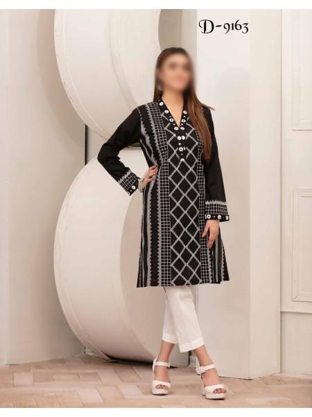 TAWAKKAL Monochrome Bareeza Cambric Cotton Ready To Wear D-9163