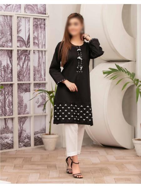 TAWAKKAL Monochrome Bareeza Cambric Cotton Ready To Wear D-9167
