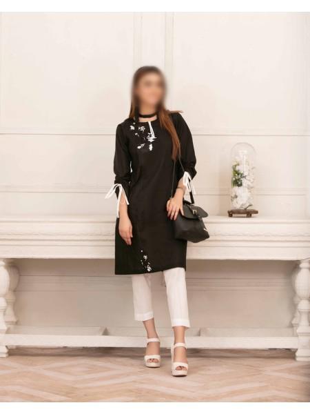 TAWAKKAL Monochrome Bareeza Cambric Cotton Ready To Wear D-9172