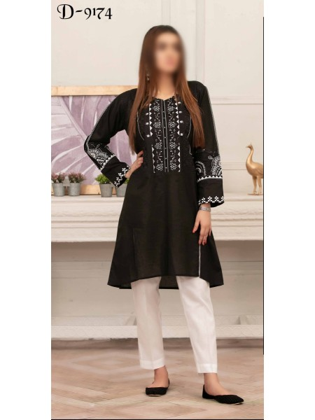 TAWAKKAL Monochrome Bareeza Cambric Cotton Ready To Wear D-9174