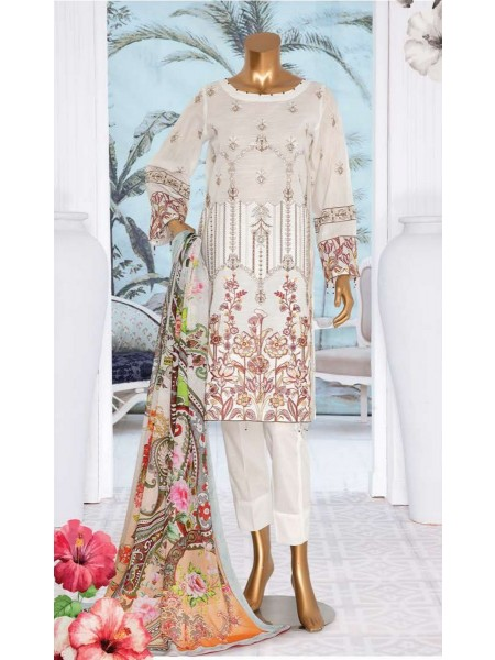 JAVED ARTS Haniya Printed And Unstitched Embroidered Lawn Collection D 02