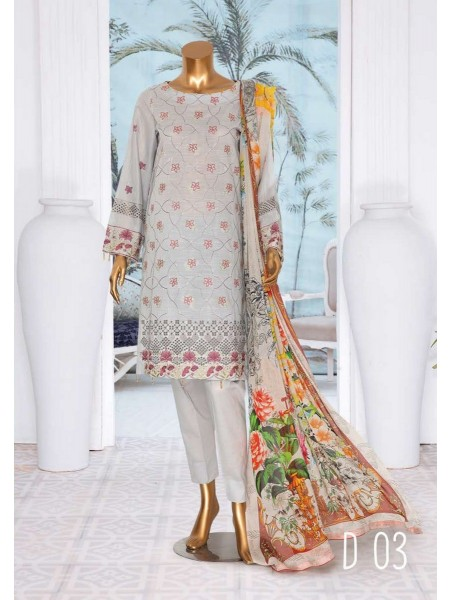 JAVED ARTS Haniya Printed And Unstitched Embroidered Lawn Collection D 03
