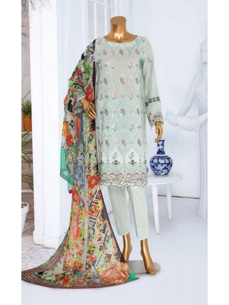 JAVED ARTS Haniya Printed And Unstitched Embroidered Lawn Collection D 08