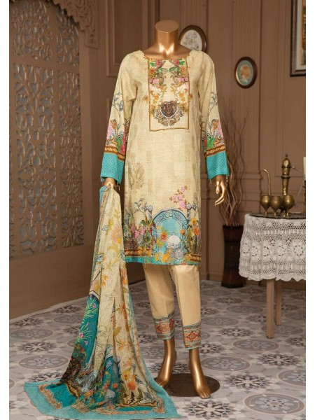 JAVED Gold Lawn Unstitched Printed And Embroidered Collection D-09
