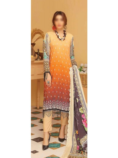 RIAZ ARTS Kesarin Unstitched Digital Viscose Printed & Embroidered Collection D-06