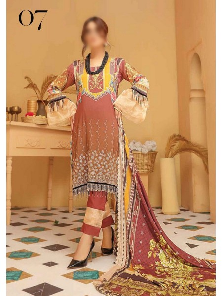 RIAZ ARTS Kesarin Unstitched Digital Viscose Printed & Embroidered Collection D-07