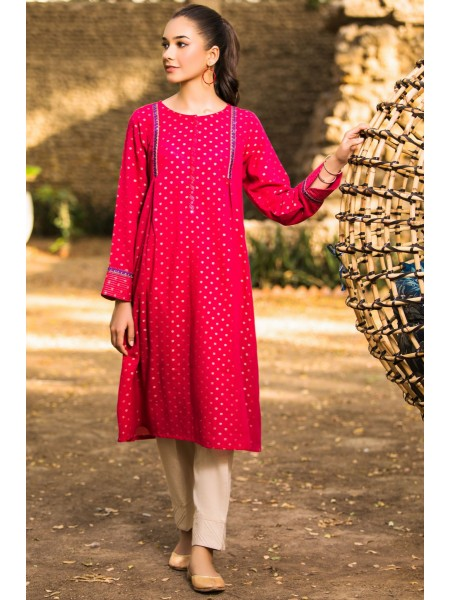 Zeen Woman Jacquard Collection Stitched 1 Piece Embroidered Shirt ZW-006