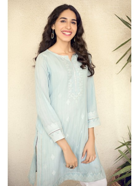Zeen Woman Jacquard Collection Stitched 1 Piece Yarn Dyed Jacquard Shirt ZW-001