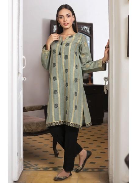 Zeen Woman Print Pret Stitched 1 Piece Dyed Jacqauard Shirt ZW-042