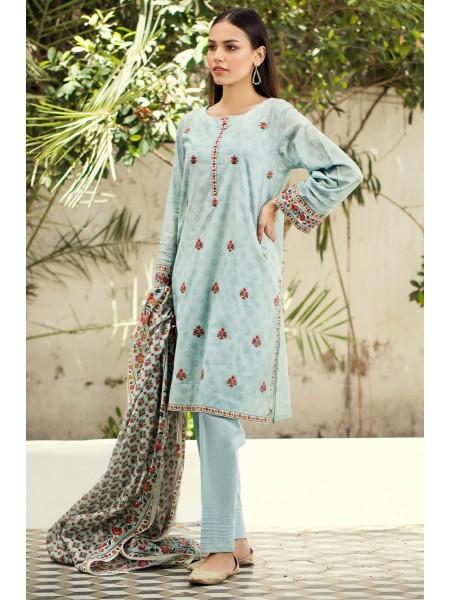 Zeen Woman Print Pret Stitched 2 Piece Embroidered Lawn Shirt ZW-041