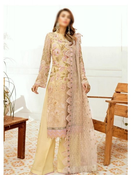 AFROZEH La Fleur - Luxury Unstitched Chiffon Collection D-04 Lustrious Lemon
