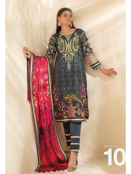 AL ZOHAIB COLORS DIGITAL PRINTED UNSTITCHED CAMBRIC COLLECTION D-10