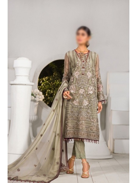 FLOSSIE Luxury Unstitched Chiffon Collection Safeera Vol-6 D-Cadmium