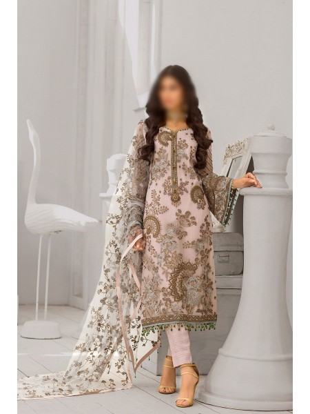 FLOSSIE Luxury Unstitched Chiffon Collection Safeera Vol-6 D-Mink Blossom