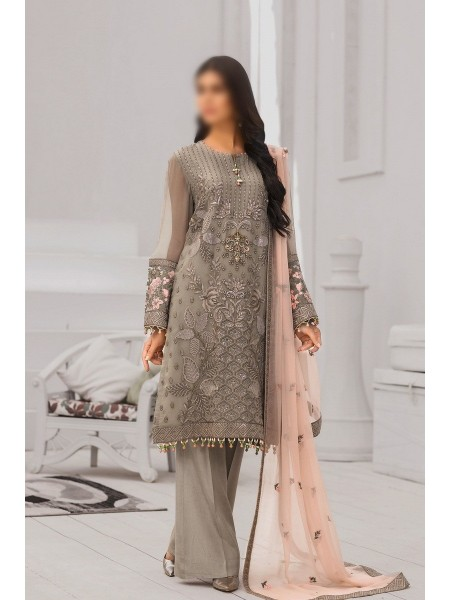 FLOSSIE Luxury Unstitched Chiffon Collection Safeera Vol-6 D-Sublime Beige