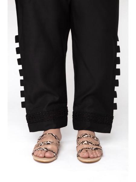 Jofia Embroidered Silk Trouser D-JST 118 Black