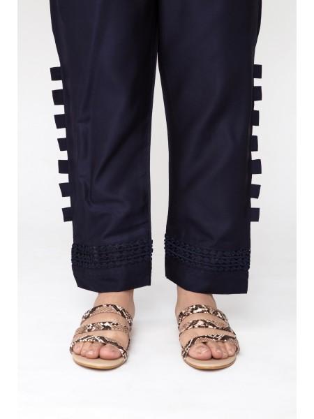 Jofia Embroidered Silk Trouser D-JST 118 Blue