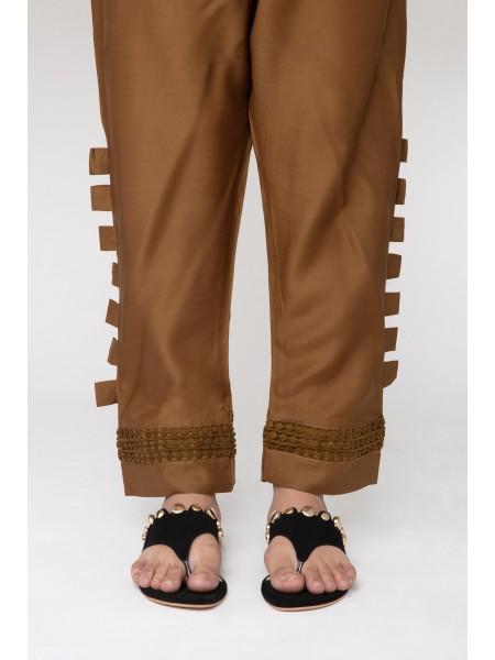 Jofia Embroidered Silk Trouser D-JST 118 Mustard