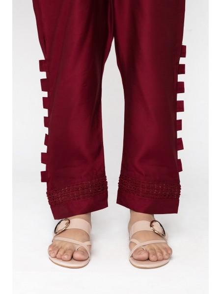 Jofia Embroidered Silk Trouser D-JST 118Maroon