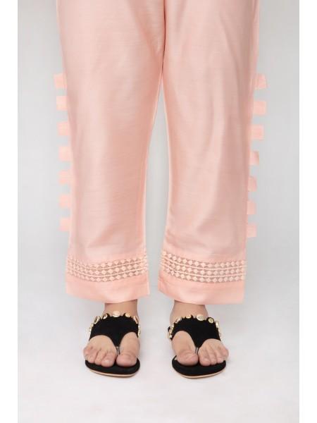 Jofia Embroidered Silk Trouser D-JST 118Tea pink