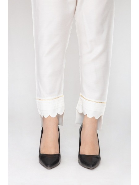 JOFIA Embroidered Silk Trouser20 Vol-02 D-TR 117 TAIL-White