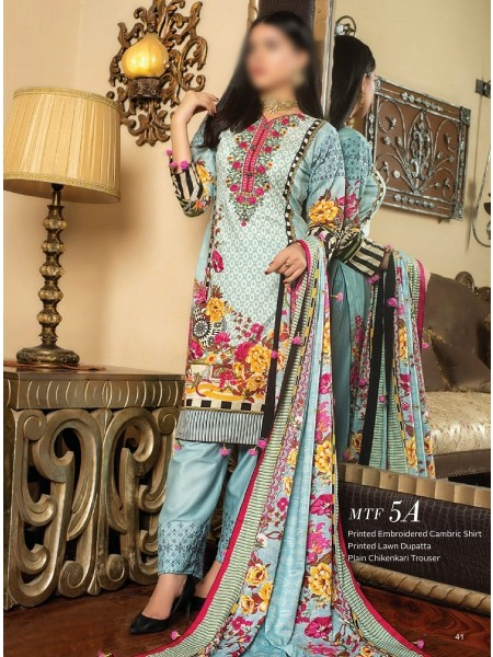 MTF Printed Embroidered Unstitched Chikenkari Cambric Collection20 D-5A
