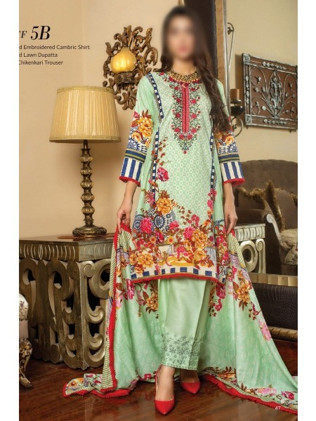 MTF Printed Embroidered Unstitched Chikenkari Cambric Collection20 D-5B