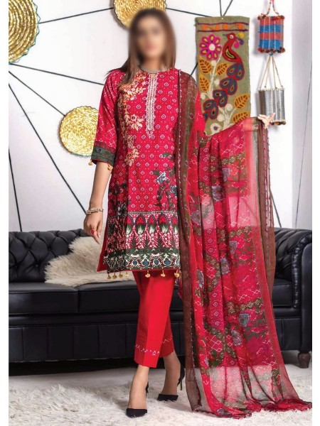 MTF RUQAYYAHS Printed Fine Embroidered Unstitched Cambric Cotton Collection20 D-01A