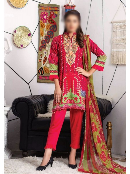 MTF RUQAYYAHS Printed Fine Embroidered Unstitched Cambric Cotton Collection20 D-02B