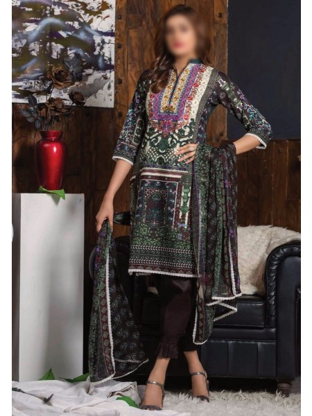 MTF RUQAYYAHS Printed Fine Embroidered Unstitched Cambric Cotton Collection20 D-03A