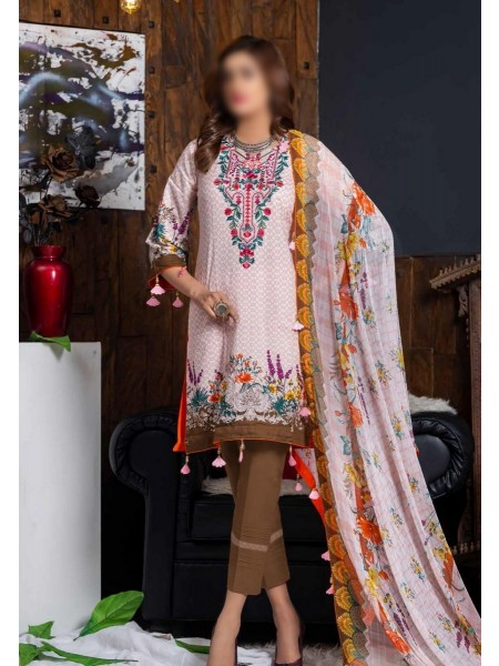 MTF RUQAYYAHS Printed Fine Embroidered Unstitched Cambric Cotton Collection20 D-05A