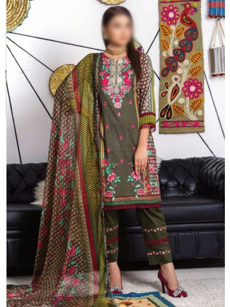 MTF RUQAYYAHS Printed Fine Embroidered Unstitched Cambric Cotton Collection20 D-06B