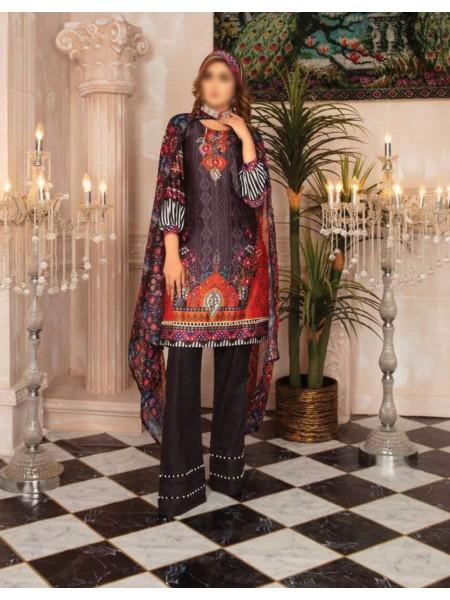 RASHID Marine Silk Unstitched Luxury Collection D-DE 2583