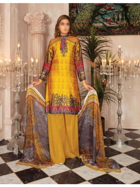 RASHID Marine Silk Unstitched Luxury Collection D-DE 2585