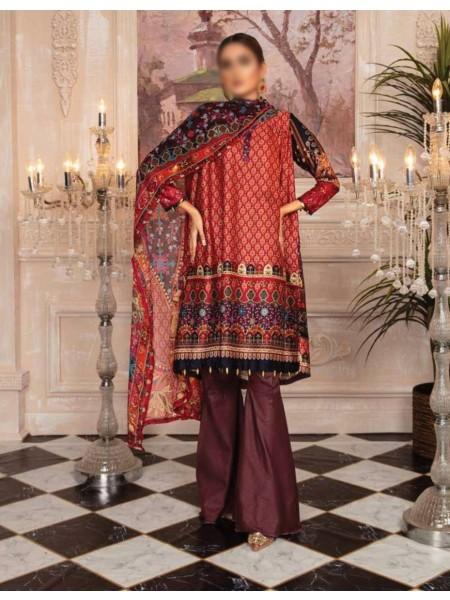 RASHID Marine Silk Unstitched Luxury Collection D-DE 2586