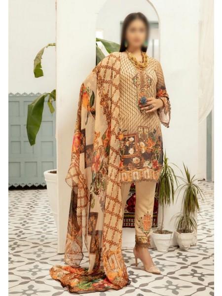 RIAZ ARTS Khaki Embroidered Unstitched Digital Karandi Collection D-07