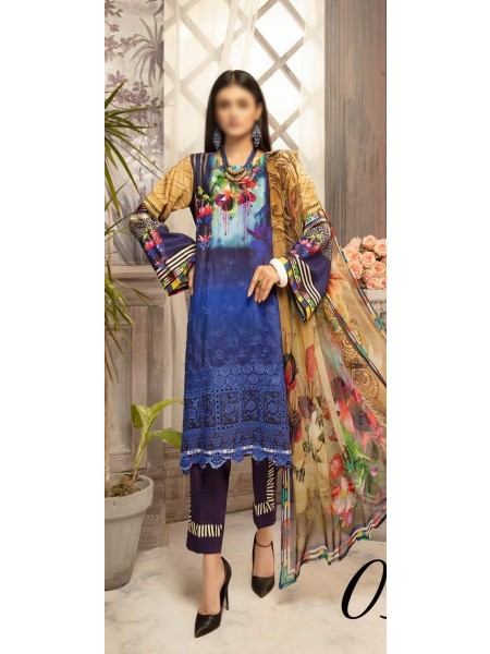 RIAZ ARTS Mahees Embroidered Unstitched Digital Viscose Collection D-03