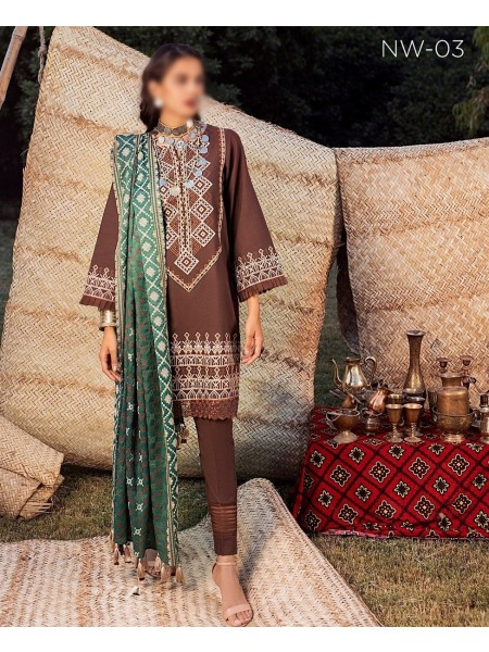 RIAZ ARTS Nureh Embroidered Khaddar Unstitched Collection D-NW 03