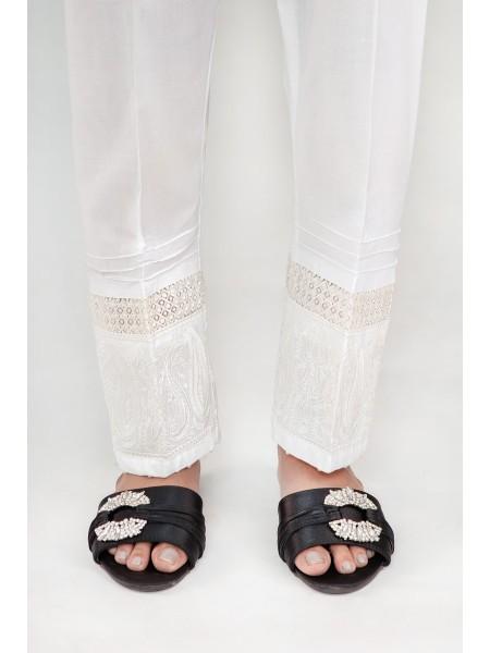 Signature Cotton Pants Collection Vol-02 D-Trouser Emb 03 White