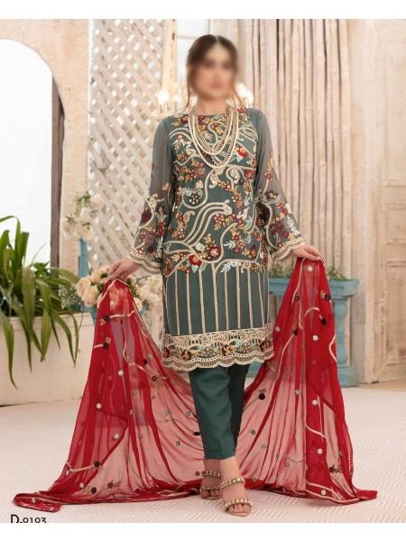 TAWAKKAL Eirene Unstitched Chiffon Luxury Collection D-9193