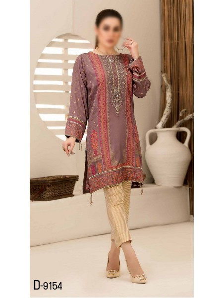 TAWAKKAL Mystique Fancy Stitched Silk Screen Print Kurti D-9154
