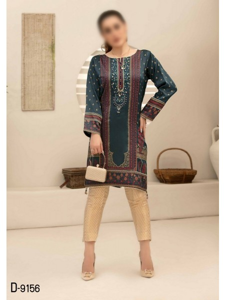 TAWAKKAL Mystique Fancy Stitched Silk Screen Print Kurti D-9156